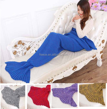 Sleeping bag85x195cm adult sofa bed throw knitted mermaid