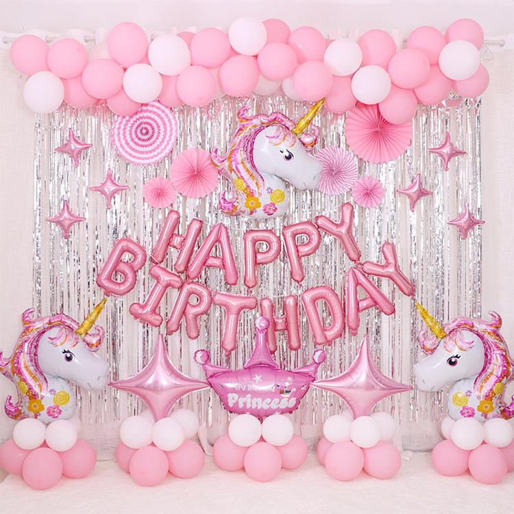 น่ารักยูนิคอร์นบอลลูนชุดวันเกิดเด็ก Unicorn Party Favors จดหมายฟอยล์บอลลูนกิจกรรม