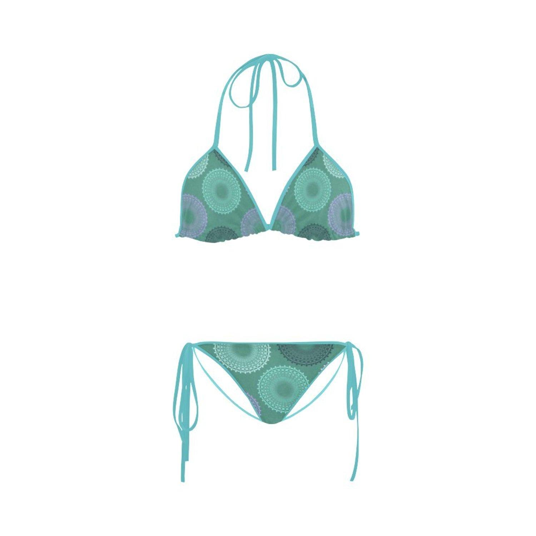 c0aacbdb955 Get Quotations · Find Arts Customized Teal Sea Foam Green Lace Doily Bikini  2 Pieces Nylon Swimsuit Swimwear Bathing