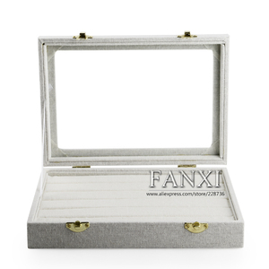 FANXI Handmade Popular Grey Ice Velvet Necklace Earrings Ring Jewellery Cases Glass Lid Holder Jewelry Display Case