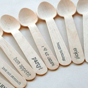 Disposable Birch Wooden Spoon / Small Honey wooden Cake Ice Cream Spoon / Custom Print Wooden Scoop