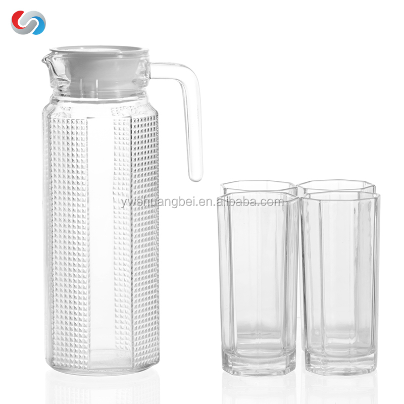 5 Pcs Octagonal Glass Water Jug Set With Octagonal Glass Drinking ...