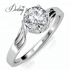 e187f1b4084ae fashion rings wholesale 18K white gold plated ring made with crystal from  swarovski