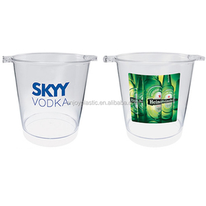 Portable Plastic PS Clear Beer Buckets Ice Buckets with Two Ears