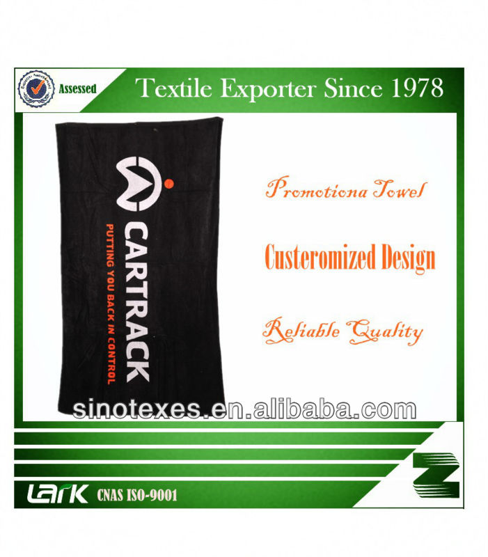 Promotional LARK Brand Printed black Beach Towel With logo