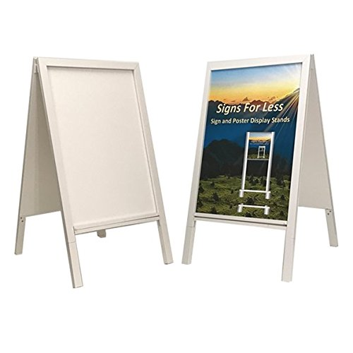 """A Frame Sign Display and Message Board Holder with Erasable White Board for Restaurant, School, Sandwich, Retail, Theater and Sidewalk Use Indoor or Outdoor 41"""" x 24"""""""