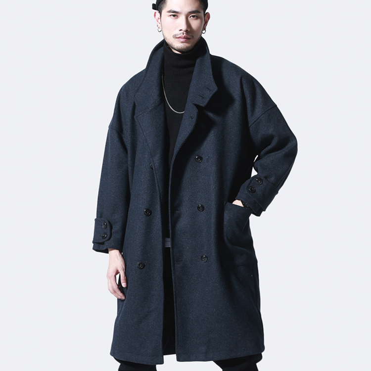 Winter men's long woolen coat trendy casual thick woolen coat