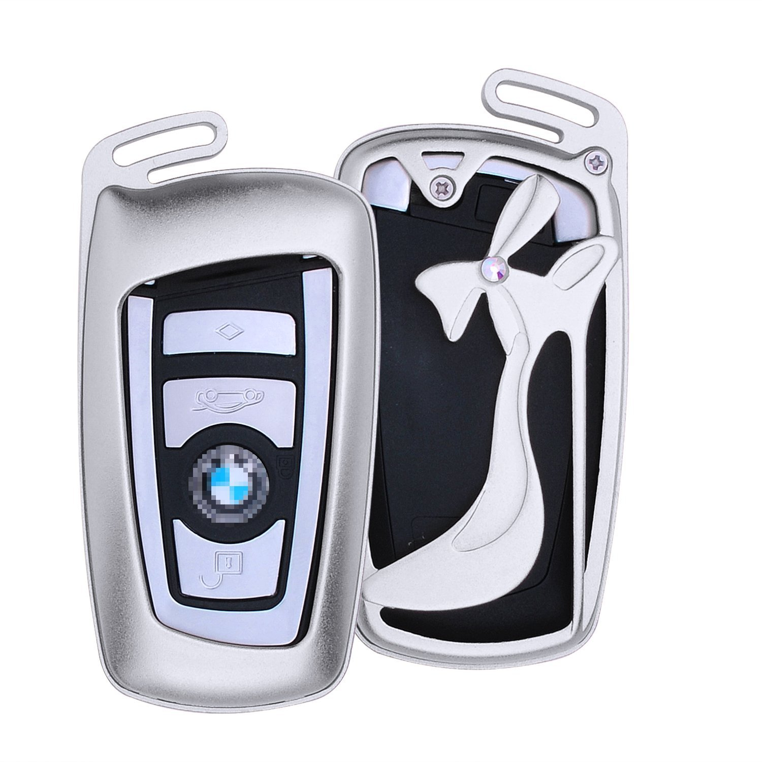 [M.JVisun] New Car Keyless Entry Key Case High-heeled Shoes Cover Fob Skin for BMW 1 Series 2 3 / GT 4 5 6 Series X3 X4 M2 M3 M4 M5 M6 , Aircraft Aluminum Shell Genuine Leather With Key Chain - Silver