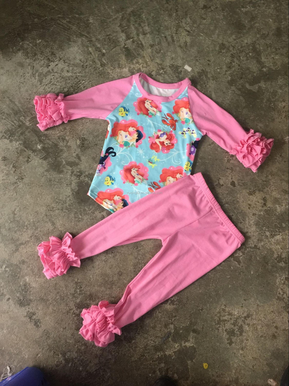 Wy 619 Wholesale Children Baby Raglan Toddler Icing Ruffle Raglan
