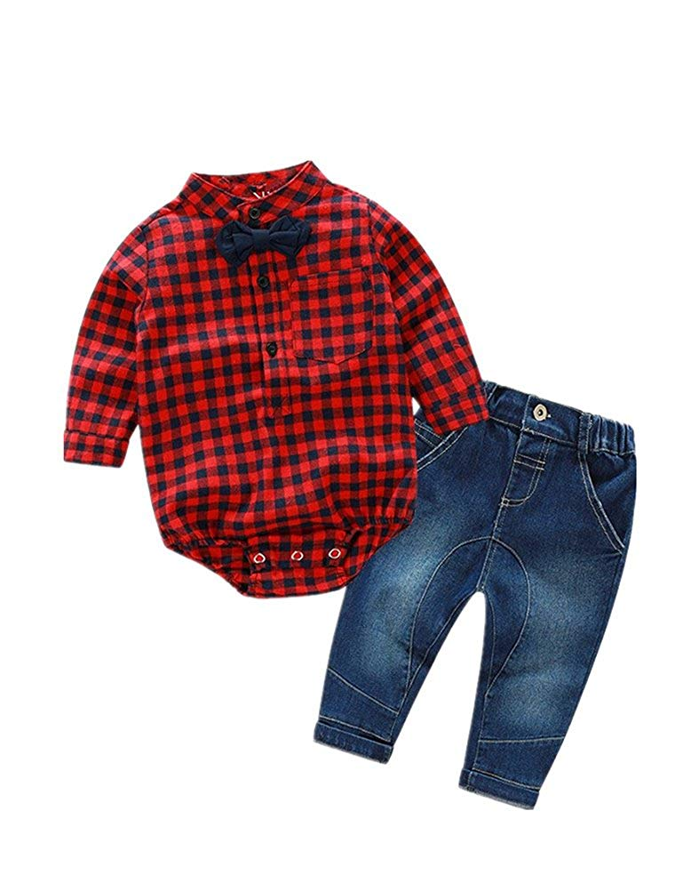 ALLAIBB Baby Boys Gentleman Suit Blue Plaid Shirt Navy Blue Vest+Khaki Pants