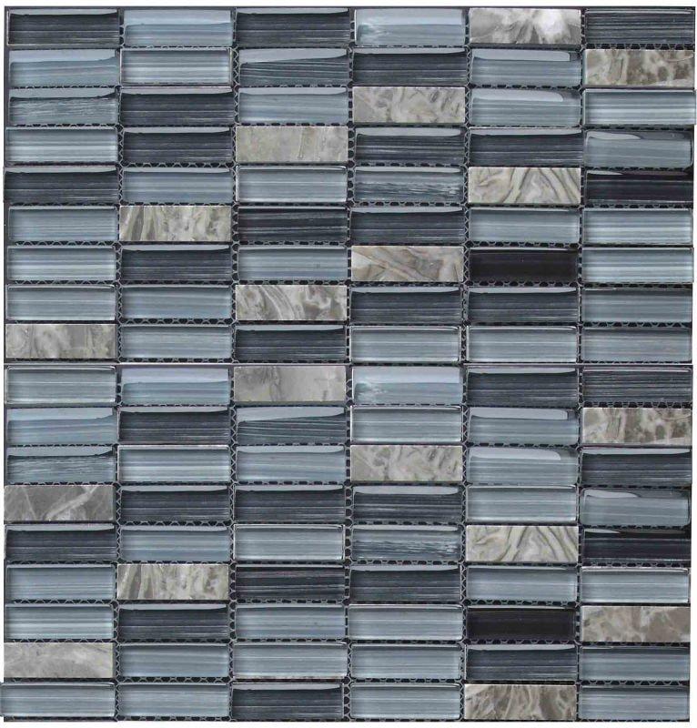 Blu stanza da bagno mosaico mix di vetro marmo grigio - Piastrelle di vetro ...