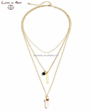 24K gold plated BOHO style triple layers pink crystal pendant necklace for Christmas
