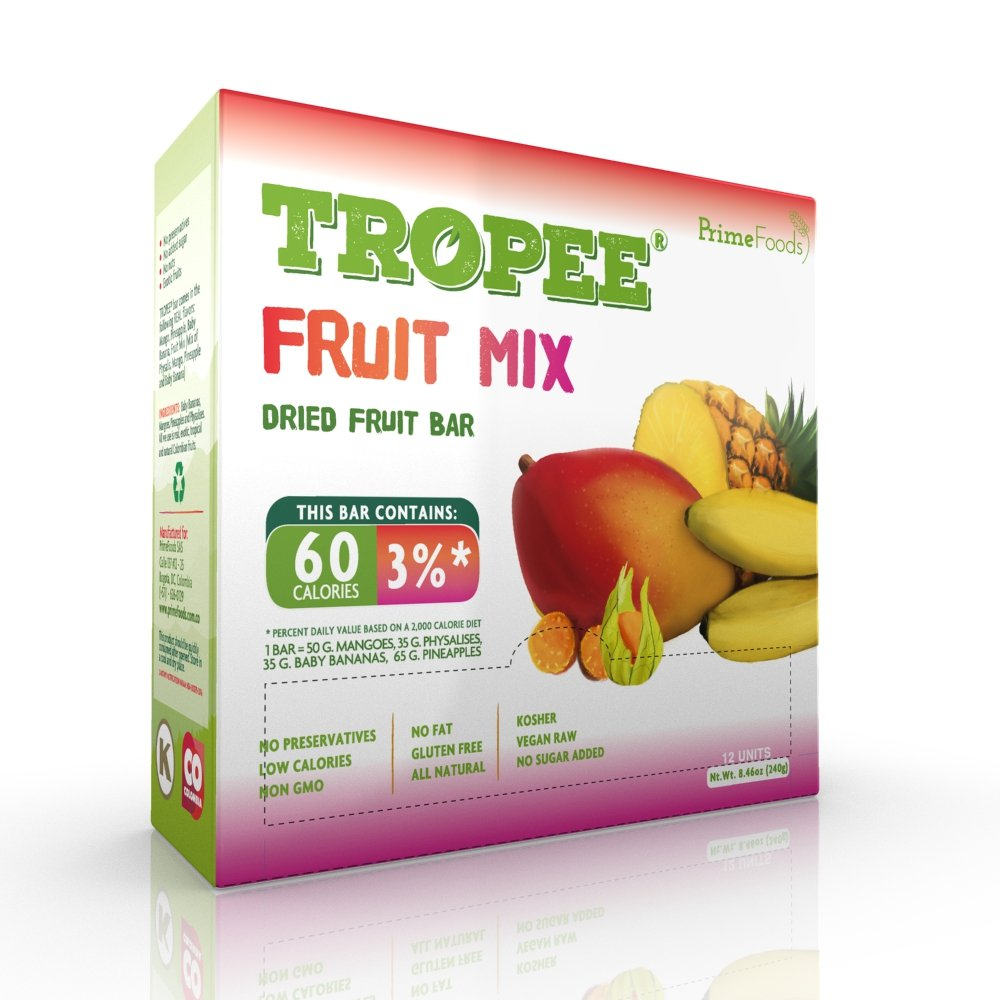 TROPEE Gluten Free Food Fruit Bars - Fruit Mix 20g, Box of 12. Healthy Snack Bars for the Vegan Diet which are Sugar Free, Kosher Food, Fruit Snacks. Perfect Vegan Gifts with Low Calorie Snacks