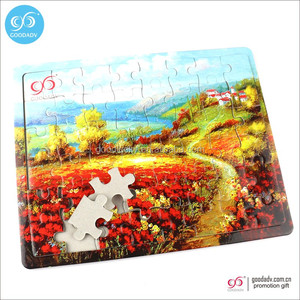 Custom educational material wooden toy kids jigsaw paper puzzle