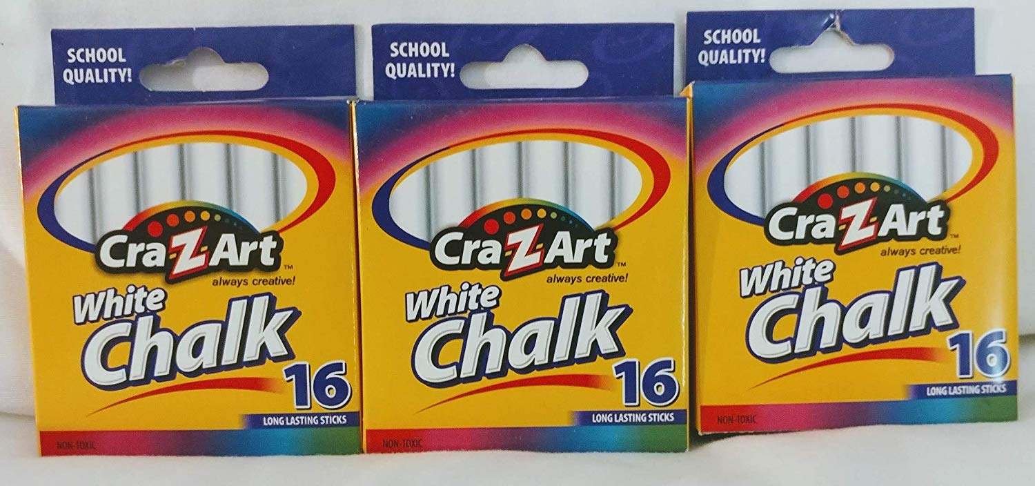 Cra-Z-art White Chalk (10800) Exclusive Bundle (16 Count) - 3 Pack (48 Total Count)