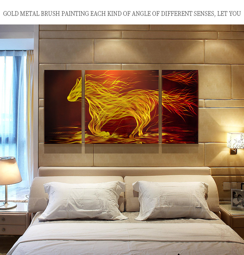 modern horse metal wall painting decoration with velvet