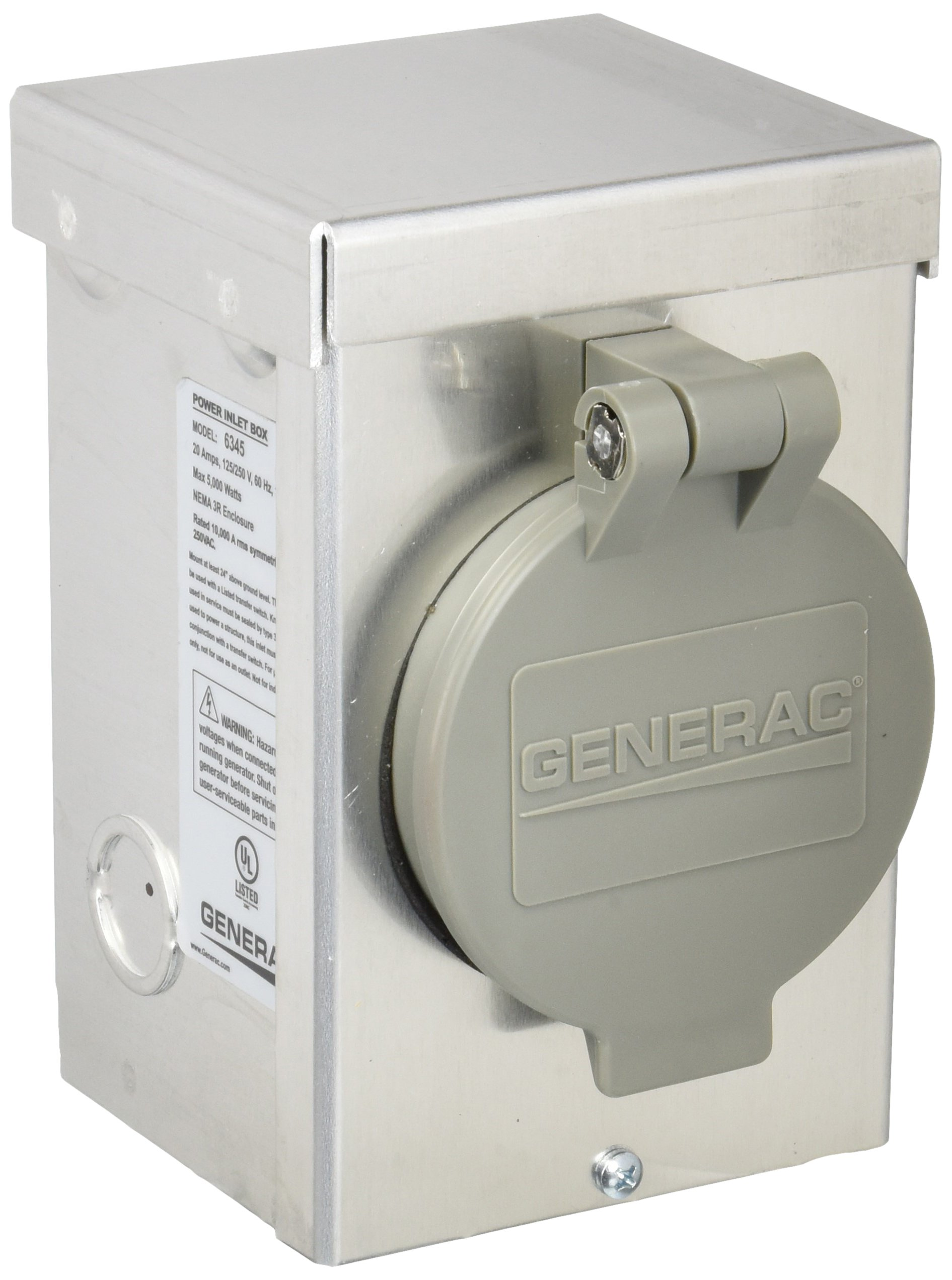 Generac 6345 20-Amp 125/250V Aluminum Power Inlet Box with Spring-Loaded Flip Lid
