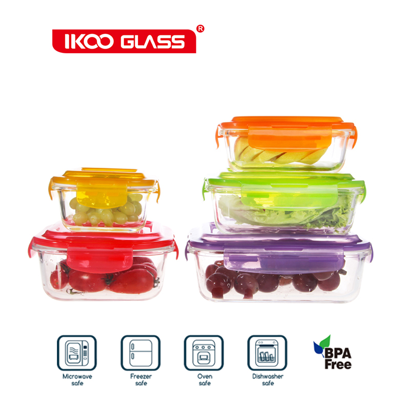 Rectangle heat resistant glass silicone storage box with lid