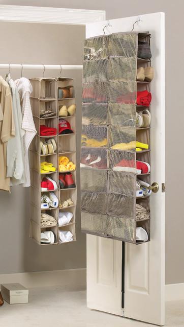 18 Pockets Hanging Shoes Organizer,Transparent Overdoor ...