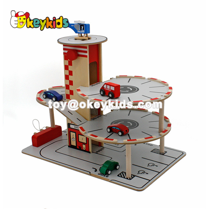 wholesale cheap children wooden parking lot, top fashion baby wooden parking lot for sale W04B035