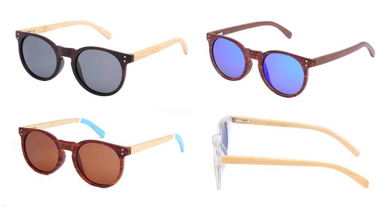 Newest design CE FDA certificated polarized bamboo arms logo frame sunglasses