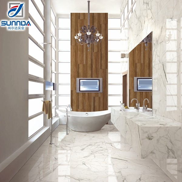 high quality cheap calacatta white marble look glazed polished porcelain floor tiles