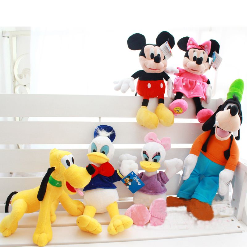 Kawaii Mickey Mouse Minnie Mouse Plush Toys Donald Duck Daisy Duck Plush Toys and Goofy Dog Pluto Dog Plush Children Toys