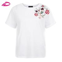 2017 New Arrivel White Floral Bird Embroidered T Shirt Cheap White T Shirt In Bulk