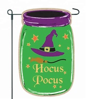 Halloween Garden Flag - Mason Jar Hocus Pocus Witch Garden Flag