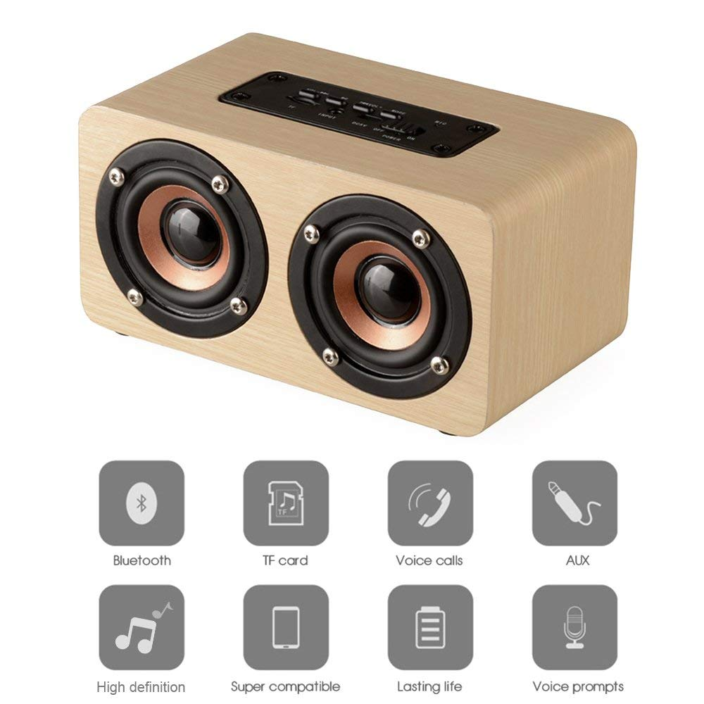 HIOTECH Wood Wireless Bluetooth Speaker, Retro Bamboo Portable Design Support Most Bluetooth Device & TF Card, Enhanced Bass with Dual Passive Subwoofers for Car, Small Party, Office, Home