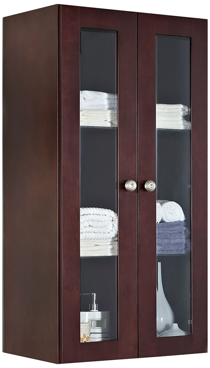 American Imaginations 715 24-Inch X 48-Inch Solid Cherry Wood Reversible Door Wall Linen Cabinet, Coffee Finish