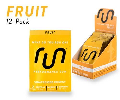 RUN GUM Fruit Energy Gum 50mg Caffeine Taurine & B-Vitamins Per Piece, 24 Pieces (Pack of 12), 2 Pieces = 1 coffee or Energy drink, Sugar Free, Zero Calorie