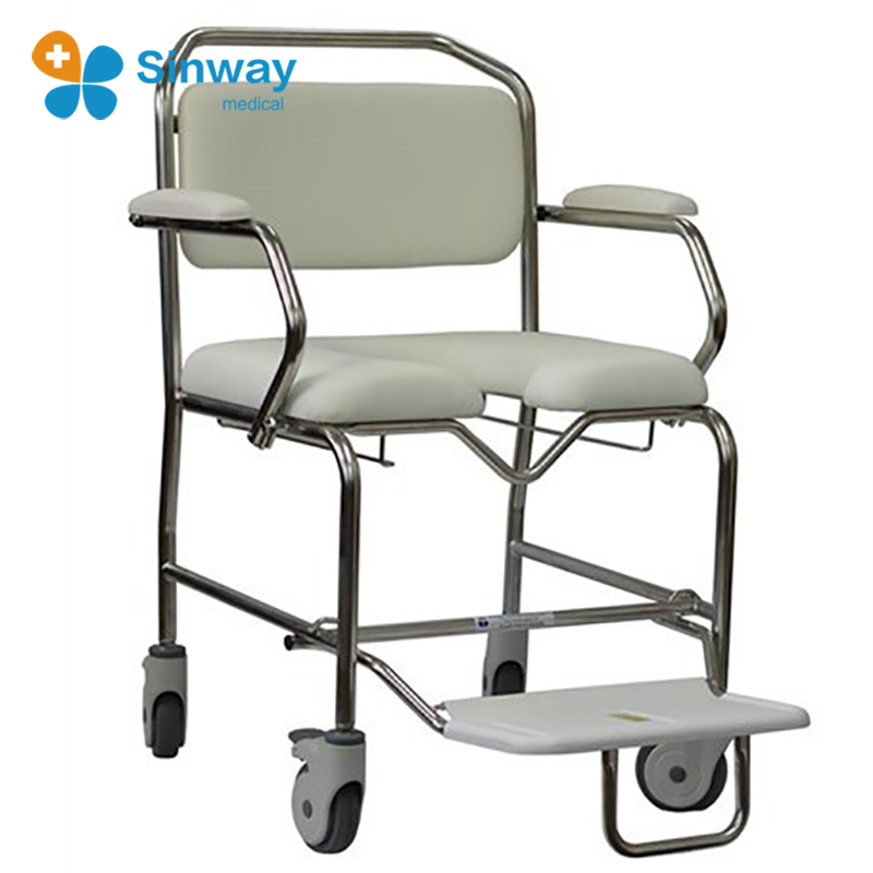 Folding bariatric mobile commode shower chair