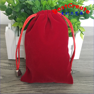 Custom logo printed 9x12cm red drawstring flannel dice bags velvet pouches wholesale