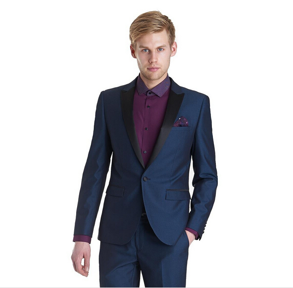 Get Quotations Navy Blue Tuxedos Peaked Mens Wedding Suits Slim Fit One On Grooms Three