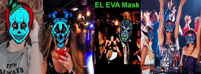 Hot selling EL face Mask,EL party Mask For Halloween, Blacklight Run,Advertisement,DJ,Club,Christmas