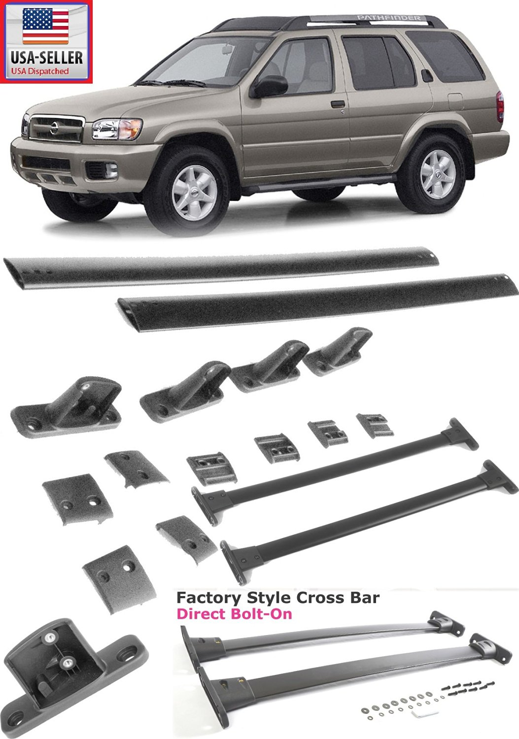 05-12 Nissan Pathfinder Black Roof Top Rack Rail Cross Bar Luggage Carrier 2PCS only 2005 2006 2007 2008 2009 2010 2011 2012