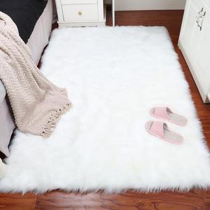 2018 New Pure White Sheepskin Plush Fur Rugs Faux Fur Carpet