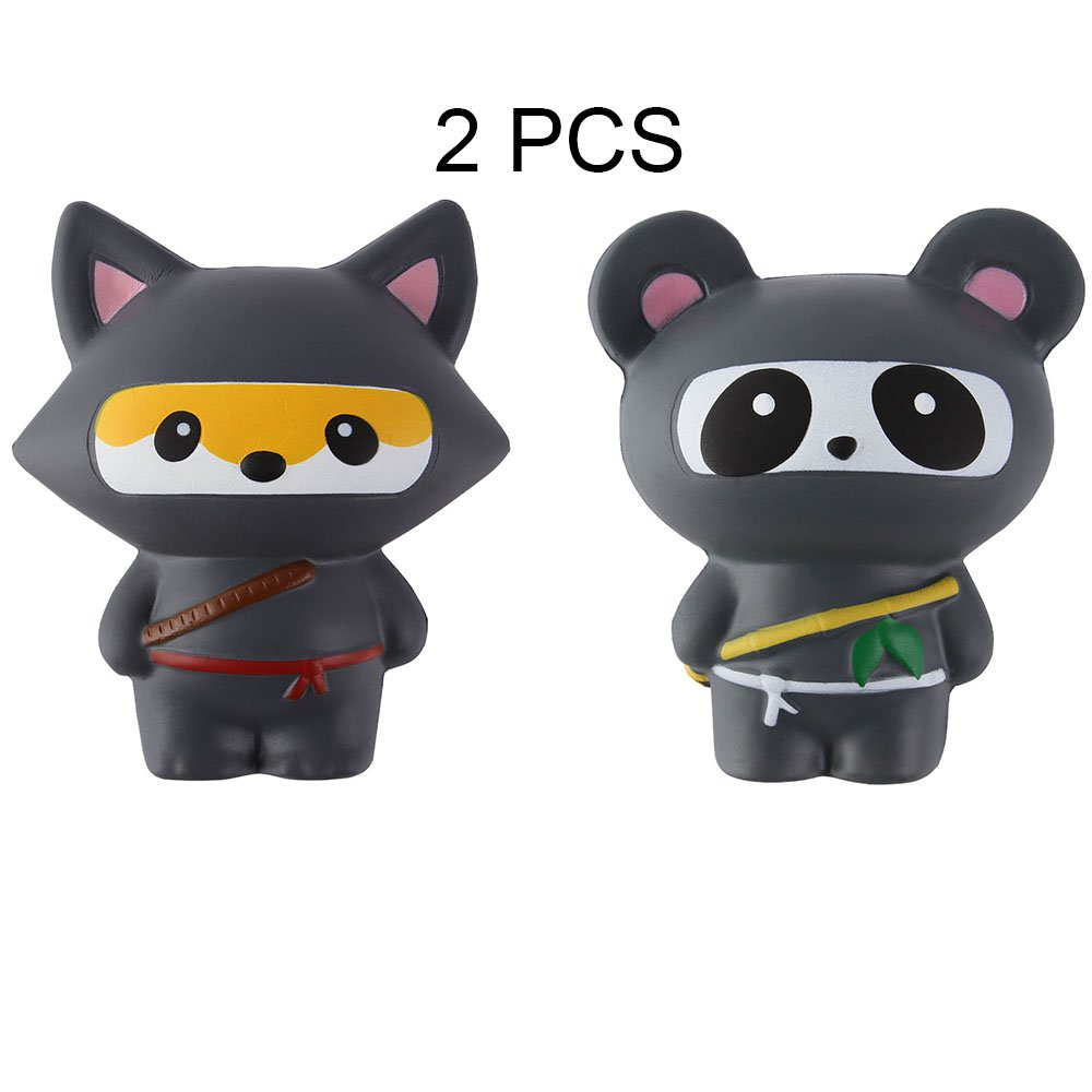 Anboor 2 PCS Squishies Ninja Jumbo Panda and Fox Slow Rising Squishies Kawaii Scented Soft Animal Toys