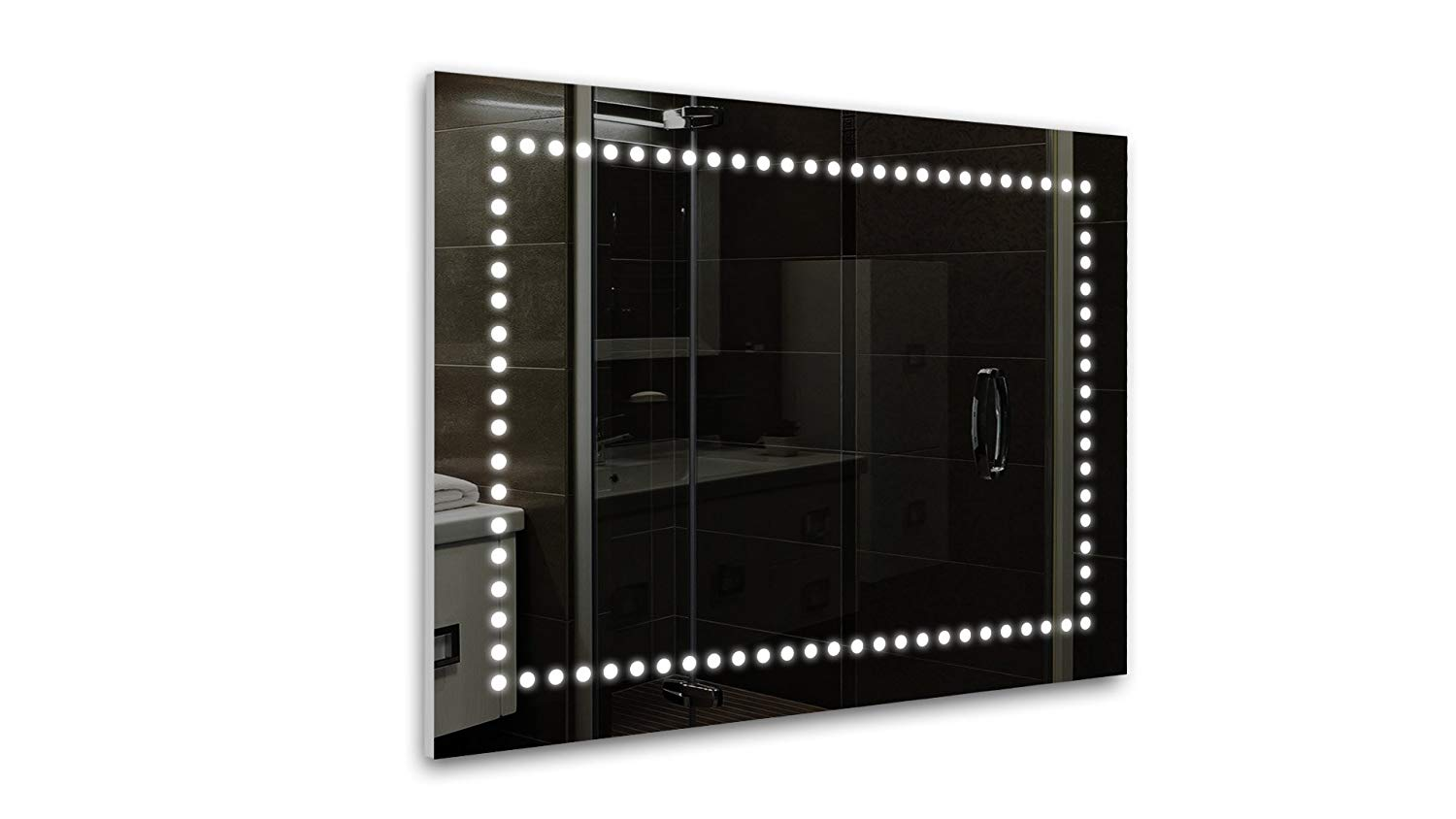 Tilebay LLC Ikot Led Lighted Rectangle Bathroom Mirror , Illuminated Wall Mounted Horizontal/Vertical Mirror 31x23 with Touch Button Switch