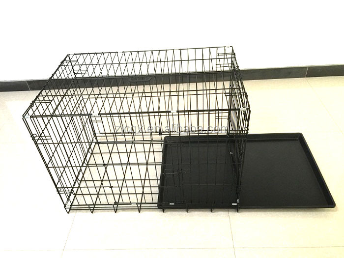 portable dog crate galvanised double doors folding dog kennels CAGE