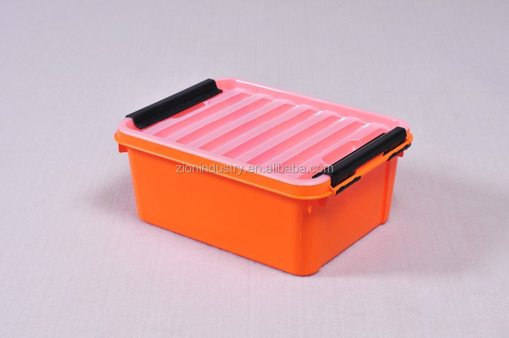 8 5l Orange Plastic Storage Box With Clear Lid Dividers Bo Wheels Product