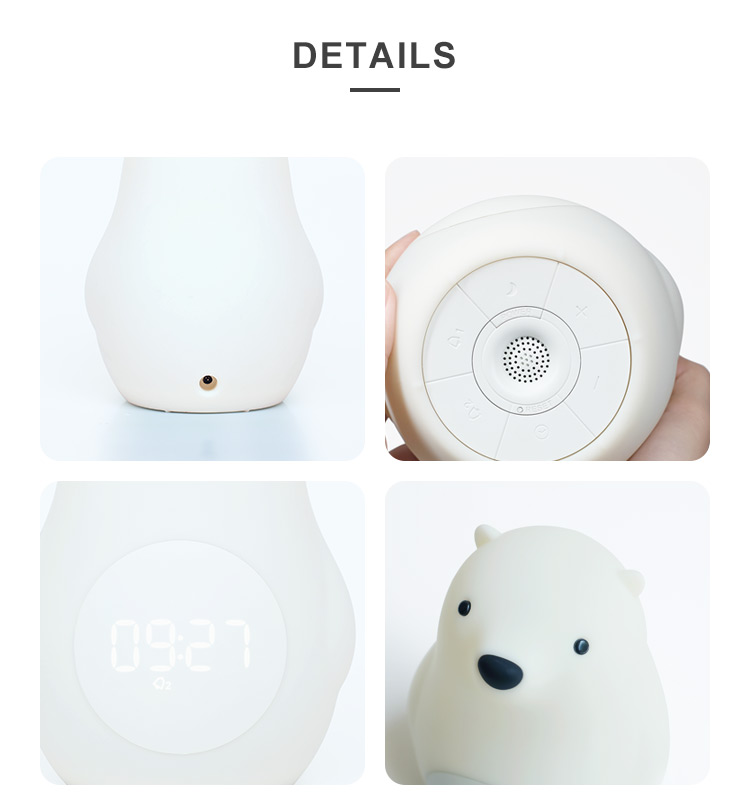 White Bear LED Lamp Sunrise Simulation Digital Alarm Clock