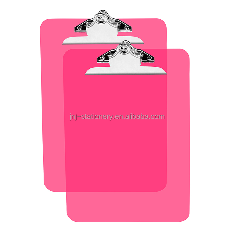 Colorful A4 size PS material clear plastic clip board