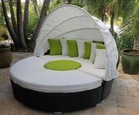 Hervorragend Komfortable Sonne Strand Gewebt Kunststoff Rattan Runde Outdoor Lounge Tag  Bett Mit Baldachin