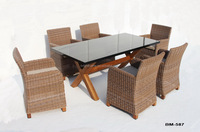 Leisure Rattan Furniture High Back Chair and Table for Outdoor