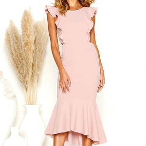 Summer Women's Low Open Back Ruffle Rose Pink Fishtail Slim Fit Dress For Weeding