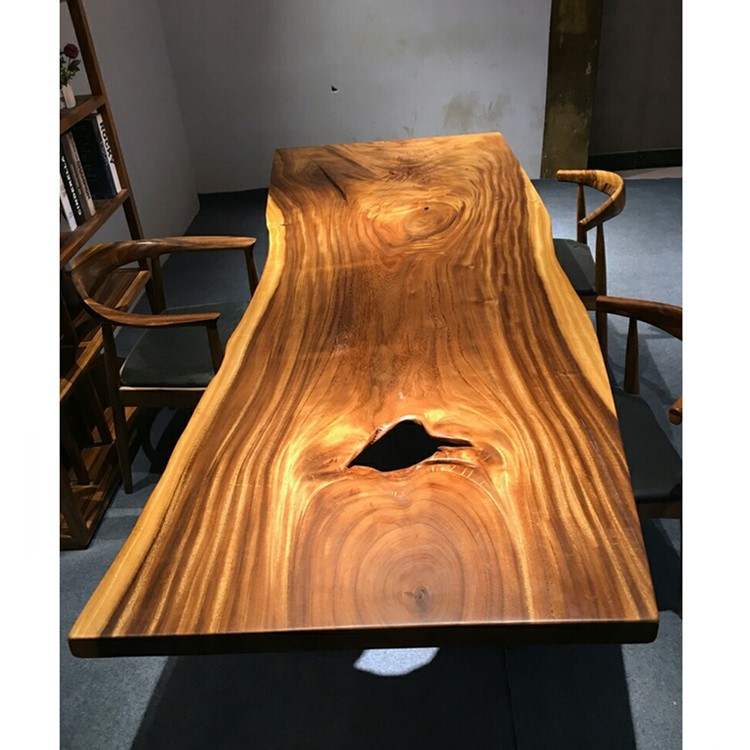 Hot sale long live edge wood slab table top with a hole matching metal legs