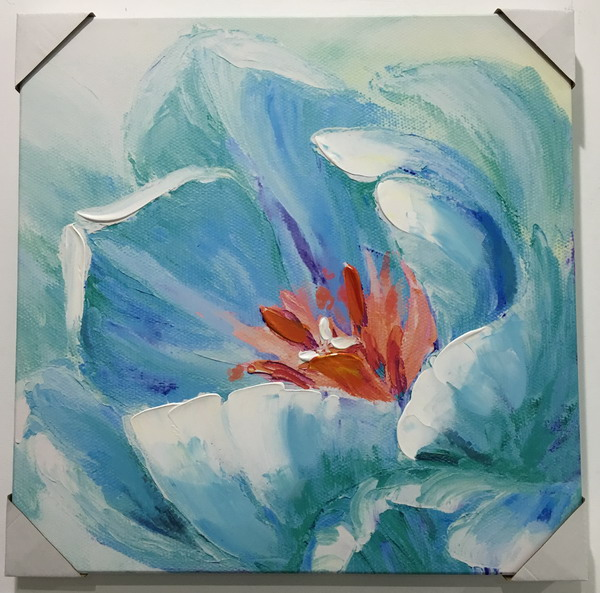Blue flower hand painted home goods wall art canvas oil painting