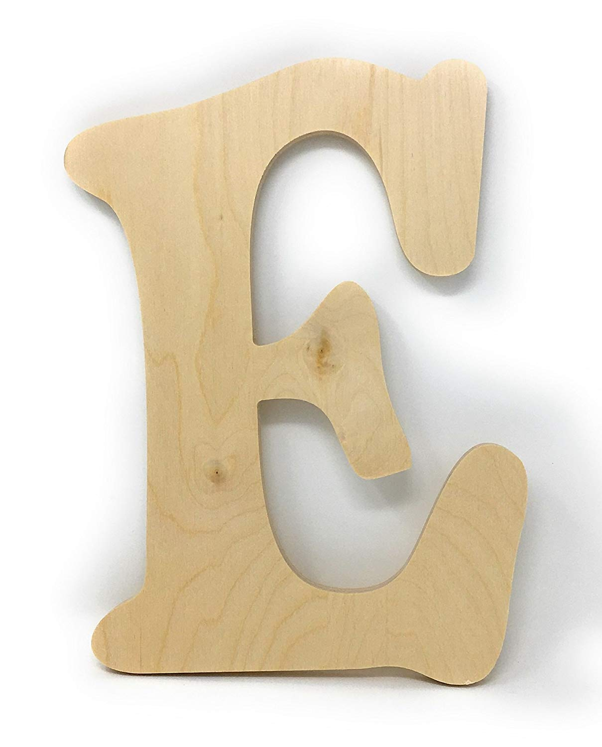 """Gocutouts 10"""" Wooden E Unfinished Wooden Letters Paint Ready Unfinished Wall Decor Craft Cutout (10"""" Baltic Birch, E)"""